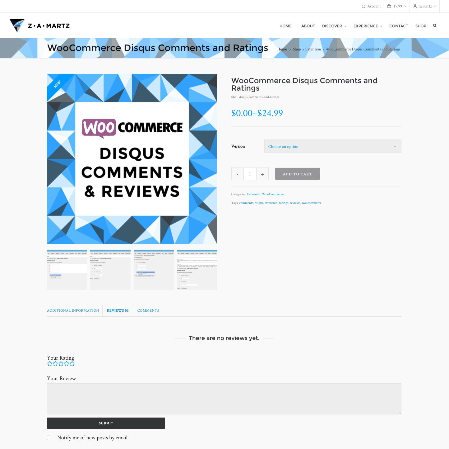 discus for wooCommerce new comment tab