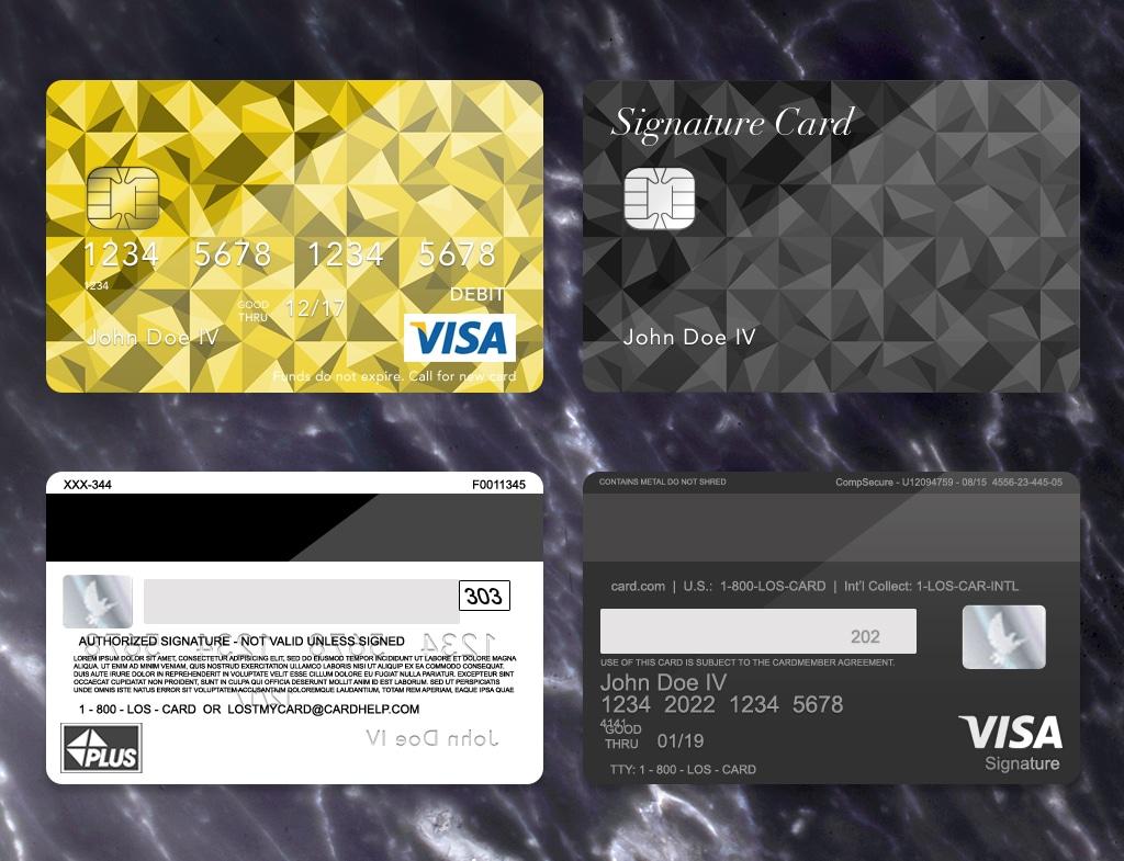 Bank Card Template Plus Dark Marbel