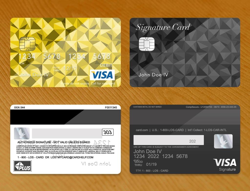 Bank Card Template Plus Dark Wood Grain