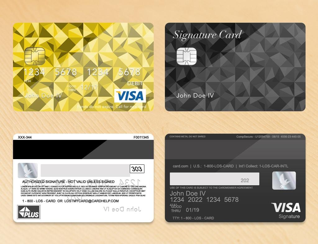 Bank Card Template Plus Light Wood Grain
