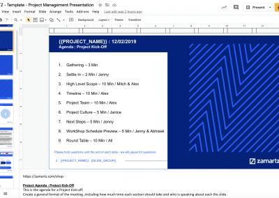 zamartz project management-presentation deck project agenda slide