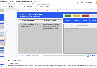 zamartz project management presentation deck project workstream